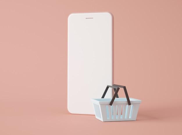 Ilustração 3d. smartphone e cesto de compras.