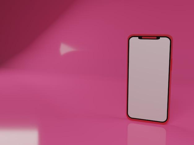 Ilustração 3d smartphone vermelho em fundo rosa