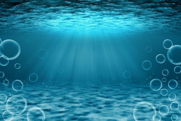 Ilustração 3d subaquática com bolhas