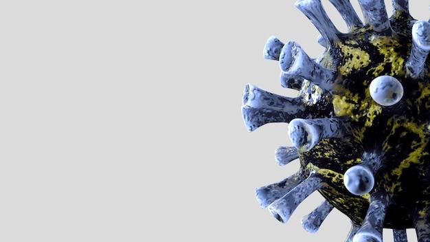 Ilustração 3d. surto de coronavírus infectando o sistema respiratório. o vírus da influenza covid 19 apresenta histórico como gripe perigosa. conceito de risco de saúde médica pandêmica com células de doença.