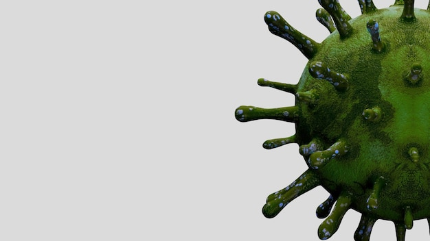 Ilustração 3d. surto de coronavírus infectando o sistema respiratório. o vírus da influenza covid 19 apresenta histórico como uma gripe perigosa. conceito de risco de saúde médica pandêmica com células de doença.