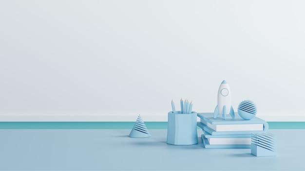 Ilustração 3d, tom azul de material escolar em cima da mesa, renderização em 3d, com volta ao conceito de escola