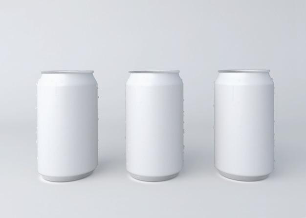 Ilustração 3d. três lata de alumínio em fundo branco.