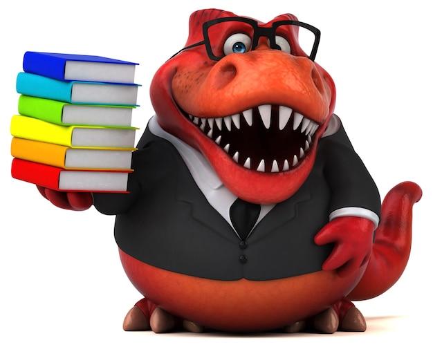 Ilustração 3d trex engraçada com livros coloridos