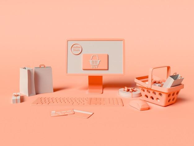Ilustração 3d. um computador com cartões de crédito, cesta de compras, produtos e sacolas de papel. conceito de compras e e-commerce online.