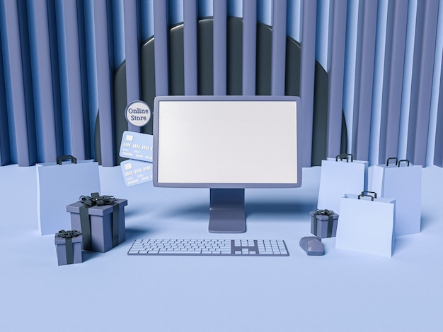 Ilustração 3d. um computador com sacos de papel, caixas de presente e cartões de crédito em azul listrado. conceito de compras e e-commerce online.