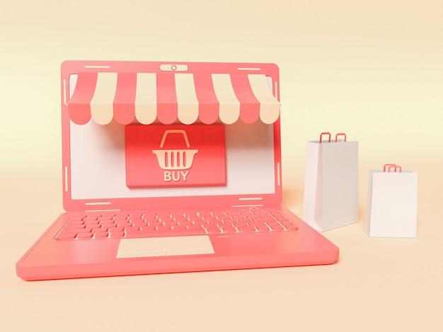 Ilustração 3d. um laptop com sacolas de papel nas laterais. conceito de compras e e-commerce online.