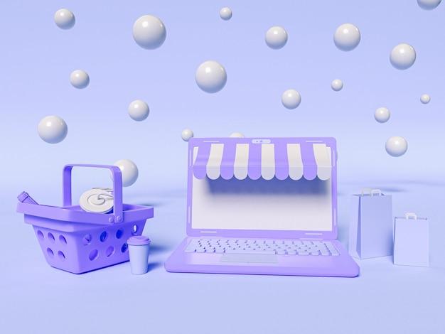 Ilustração 3d. um laptop com uma cesta de compras e sacolas de papel. conceito de compras e e-commerce online.