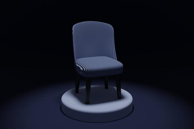 Ilustração 3d uma cadeira azul em um pedestal em um fundo preto isolado.