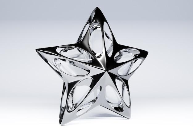 Ilustração 3d uma estrela de vidro decorativo sobre fundo claro.