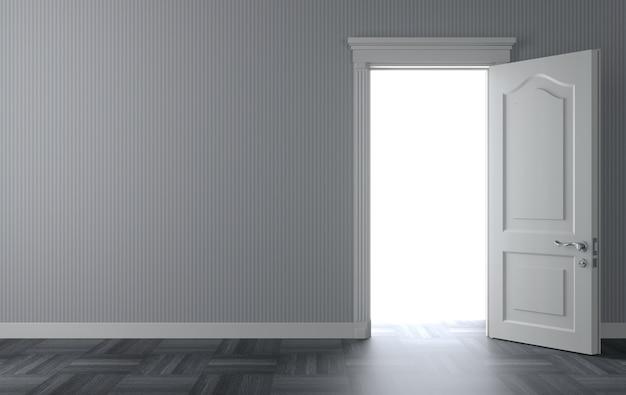 Ilustração 3d. uma porta branca clássica aberta na parede. a luz atrás da porta.