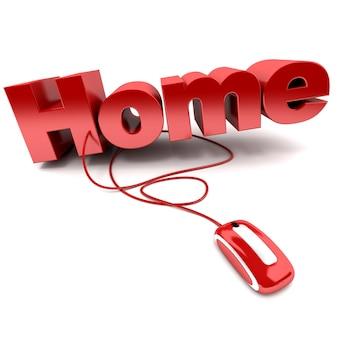 Ilustração 3d vermelha e branca da palavra casa conectada a um mouse de computador