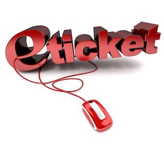 Ilustração 3d vermelha e branca da palavra e-ticket conectada a um mouse de computador