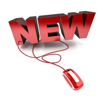Ilustração 3d vermelha e branca da palavra novo conectado a um mouse de computador