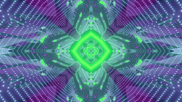 Ilustração 3d vibrante com fundo visual abstrato do corredor futurista com luzes de néon verdes e roxas refletindo na superfície espelhada com desenho geométrico