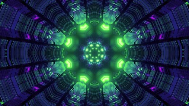 Ilustração 3d vista geométrica colorida abstrata dentro de um túnel de espaço virtual fantástico com estrutura circular e iluminação de néon verde brilhante