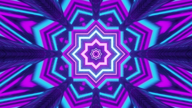 Ilustração 3d vívida projeto de fundo visual abstrato 4k uhd com ornamento em forma de flor geométrica caleidoscópio em cores neon brilhantes com efeitos de luz