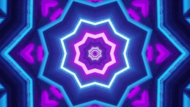Ilustração 4k uhd 3d de um ornamento em forma de estrela simétrica brilhante formado com linhas de néon azuis e roxas