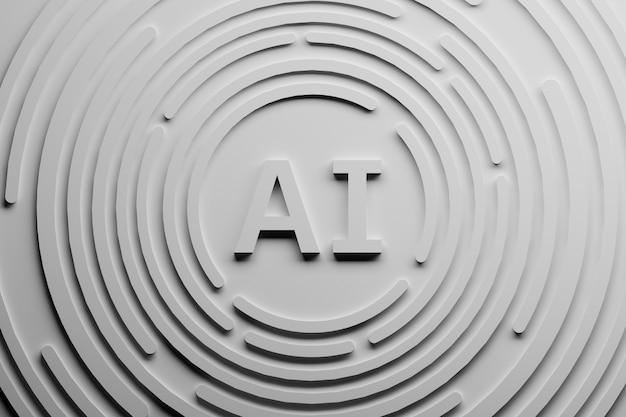 Ilustração abstrata branca com letras do ai e formas circulares.