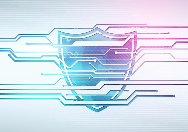 Ilustração abstrata do conceito digital de segurança de dados de internet e proteção com escudo na parede do microchip do circuito.