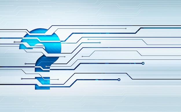 Ilustração abstrata do conceito digital do ícone do ponto de interrogação na parede do microchip do circuito.