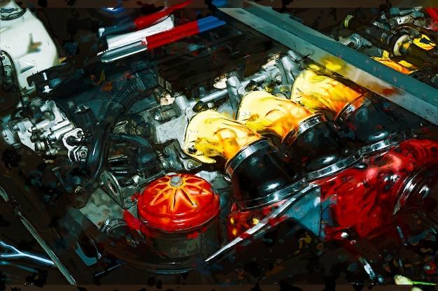 Ilustração abstrata do motor do carro.