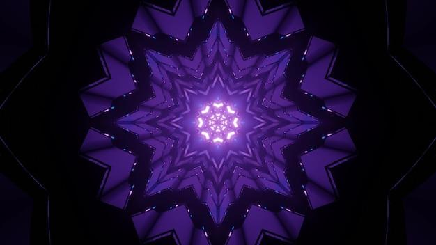 Ilustração artística em 3d de um padrão ornamental roxo em forma de floco de neve com luzes brilhantes como fundo abstrato