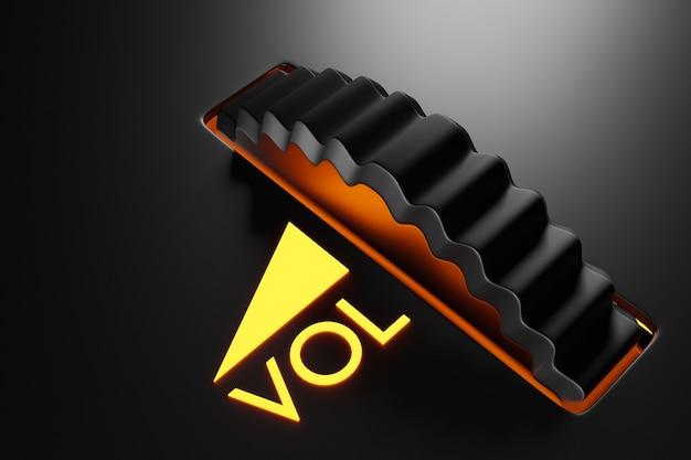Ilustração botão interruptor, configurações de volume de música