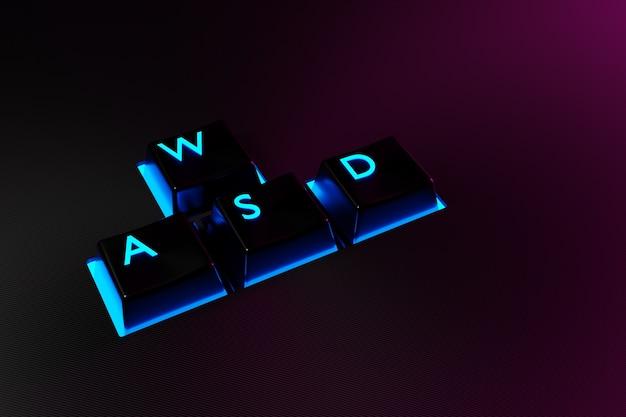 Ilustração botões do teclado wasd com luz de néon em fundo preto.