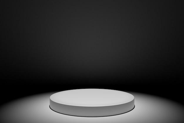 Ilustração branca redonda do conceito do pódio do estágio isolada no fundo preto. cena festiva do pódio para a cerimônia de premiação. pedestal branco para apresentação do produto. renderização em 3d