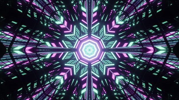 Ilustração caleidoscópica em 3d de um padrão em forma de floco de neve iluminante com luzes azuis e roxas em fundo preto