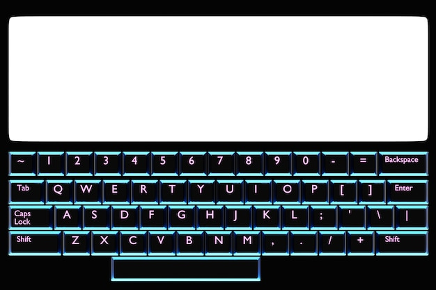 Ilustração, close-up do computador ou laptop realista com monitor branco e teclado com luz neon azul sobre fundo preto