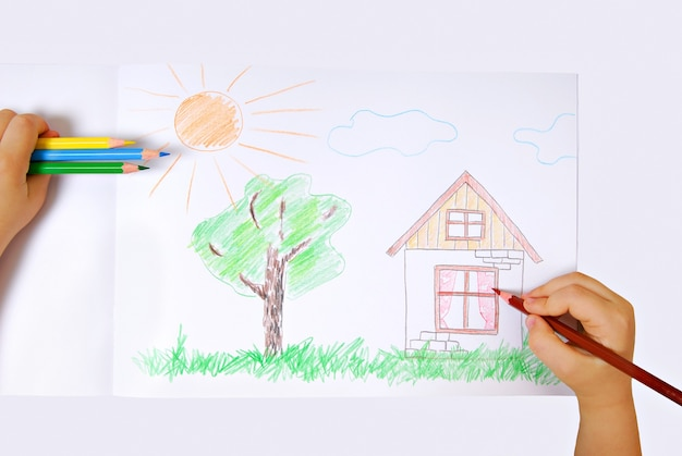 Ilustração colorida das crianças sobre a felicidade na vida