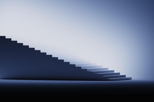 Ilustração com escadas em preto, azul e branco.