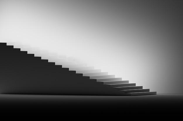 Ilustração com escadas em preto e branco.