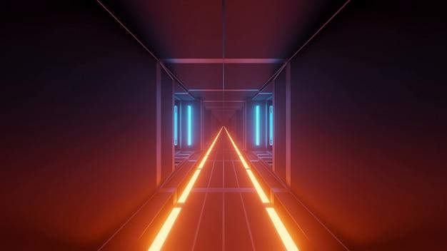 Ilustração com luzes futuristas e legais de techno de ficção científica