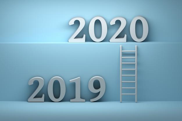 Ilustração com números de 2019 e 2020