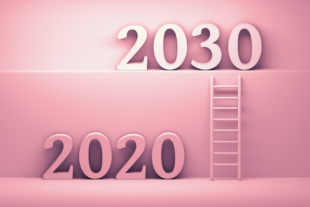 Ilustração com números do ano 2020 e 2030 nas cores rosa