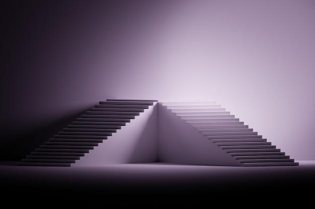 Ilustração com o suporte feito das escadas em preto, no roxo e no branco.