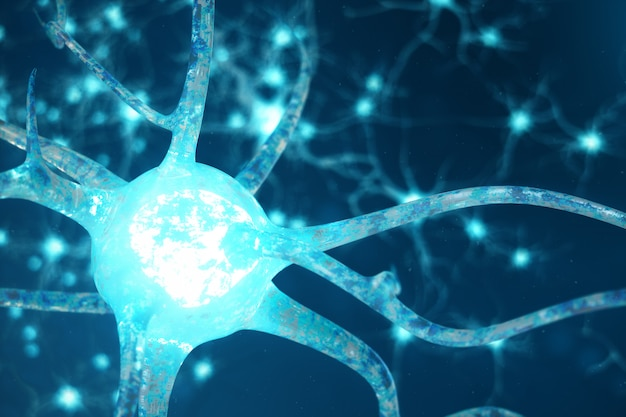 Ilustração conceitual de células neuronais com nós de ligação brilhantes. neurônios no cérebro com efeito de foco. células de sinapse e neurônio enviando sinais químicos elétricos. ilustração 3d