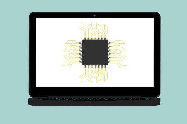 Ilustração conceitual plana de micro chip e laptop moderno em um fundo verde
