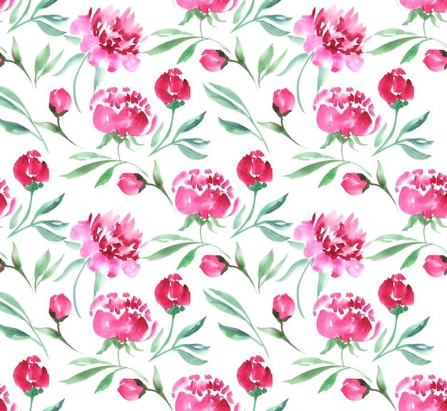 Ilustração cor-de-rosa da aquarela da flor da peônia. padrão de fundo branco sem costura.