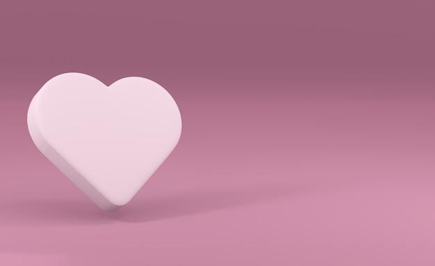 Ilustração. coração volumétrico branco sobre um fundo rosa. renderização 3d. elemento de design, cartões, saudações.