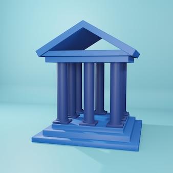 Ilustração curta de renderização 3d. ícone curto 3d. ilustração 3d curta isolada em fundo azul