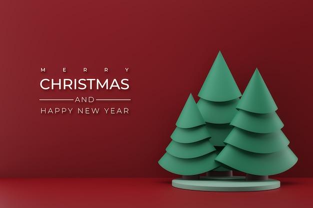 Ilustração d com árvore de natal verde em fundo vermelho decoração de natal