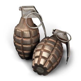 Ilustração d de duas granadas de mão mk em fundo branco