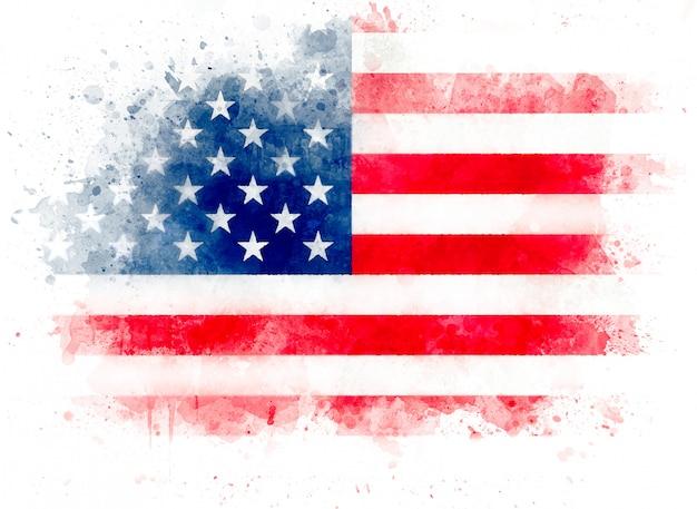 Ilustração da aquarela bandeira dos eua, aquarela bandeira americana isolada no fundo branco