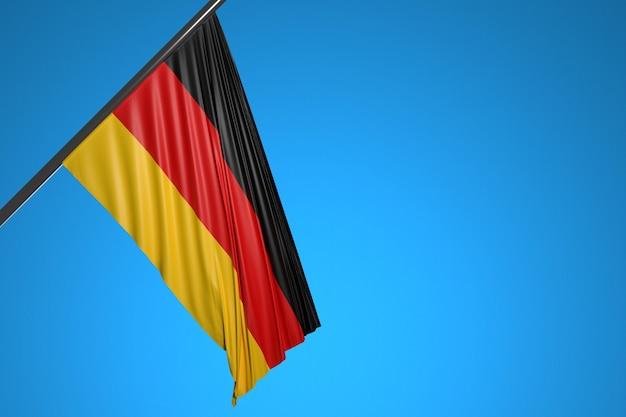 Ilustração da bandeira nacional da alemanha em um mastro de metal tremulando contra o céu azul