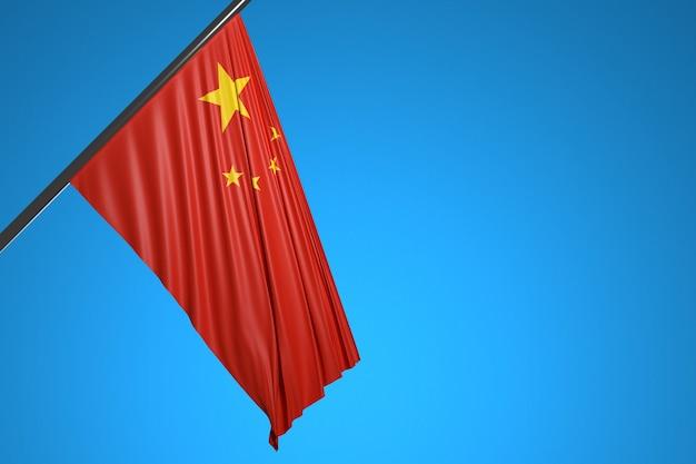 Ilustração da bandeira nacional da china em um mastro de metal tremulando contra o céu azul