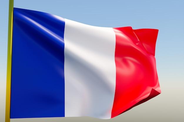Ilustração da bandeira nacional da frança em um mastro de metal tremulando contra o céu azul